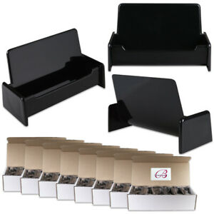 100pcs Black Color Plastic Business Card Holder Display Stand Desktop Countertop