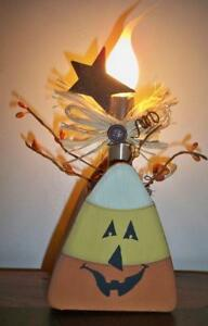 Primitive Candy Corn Electric Light Up Box Grungy Halloween With Silicone Bulb
