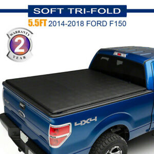 Black 5 5 5 5 Ft Soft Roll Up Truck Bed Tonneau Cover For 2014 2018 Ford F 150