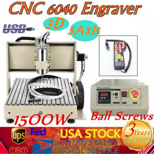 Usb 3 Axis 6040 Cnc Router Engraver 1 5kw Vfd Drilling Mill Machine controller