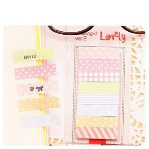Memo Sticky Note Lovely Dot Stripe Sticker Index Stationery Note School Supplies