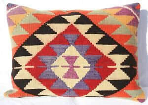 Turkish Kilim Rug Lumbar Pillow Cushion Cover Floor Cushion 28 X 20