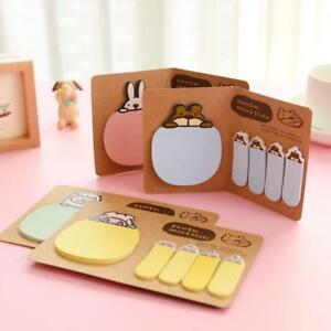 Brown Paper Cover Folding Sticky Tag Cute Animal Memo Pad Office School Supplies