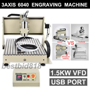 1500w 3 Axis 6040 Usb Cnc Router Engraver Engraving Machine Drilling Milling Us
