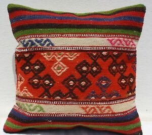 Turkish Kilim Rug Pillow Kilim Cushion Cover Hand Woven Wool 18 X 18