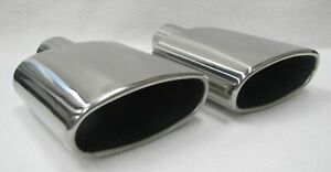 Polished Stainless Steel 2 5 Inlet 9 40 Long Oval Round Exhaust Tips Pair