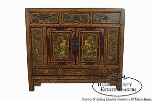 Hand Painted Oriental Rustic Chest