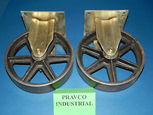 Set Of 2 Bassick Rigid Caster Wheel 8 X 2 With Plate 5 1 2 5 5 X 5