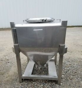 Approx 10 Cu ft Stainless Steel Sanitary Tote Tank 80 Gallons W Cone Bottom