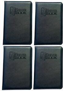 4 Server Books With Zipper Pocket Black Waitress waiter Book With Money Poc