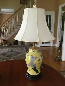 Antique Chinese Famille Jaune Porcelain Table Lamp