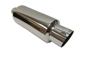Obx Universal Stainless B3 Muffler With Silencer 3 75 Slant cut Tip 3 Inlet