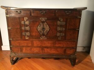 Antique Korean Antique Chest With Engraved Brass Appointments Great Size