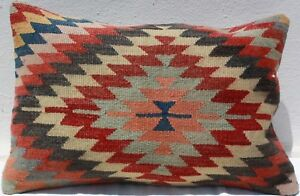 Turkish Kilim Rug Lumbar Pillow Cushion Cover Hand Woven Wool 24 X 16