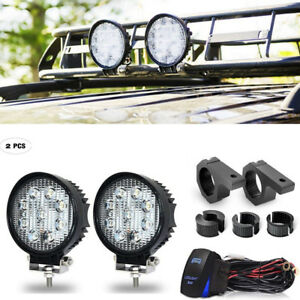 Dot Round Led Work Light Bar Spot Lamp Wiring Clamps Offroad Driving