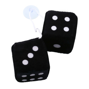 Pair Black Fuzzy Dice Dots Rear Rearview Mirror Hangers Vintage Car Accesso