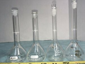 Lot Of 4 50 Ml Round flat Bottom Flasks Pyrex No 5640 Kimax W 2 Stopper