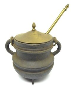 Antique Old Used Metal Cast Iron Brass Stone Fireplace Starter Hearth Ware Tool