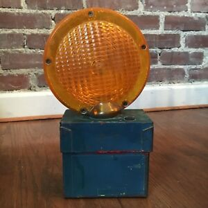 Safety Light Road Construction Barricade Warning Vtg Metal As is Parts Only