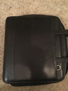 Franklin Quest Covey Zip around Monarch Black Leather Binder Retractable Handles
