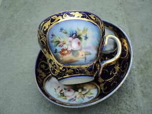 Old Paris Cup And Saucer Hand Painted Flowers Cobalt Blue