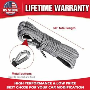 1 4 X 50 Winch Line Cable Winch Rope With Sheath 7700lbs Fits For Jeep Suv Atv