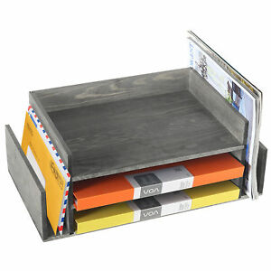 Weathered Gray Wood 3 tier Office Desktop Document Tray Mail Sorter Organizer