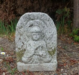 Fine Old Korean Hand Carved Granite Stone Meditating Buddha