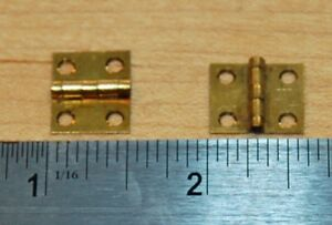 Pair Of Vintage Small Brass Hinges 1 2 X 5 8 Scovill Mfg Co Antique