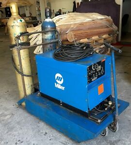 Miller Dialarc Hf Constant Potential Ac dc Arc Welding Power Source Welder cart