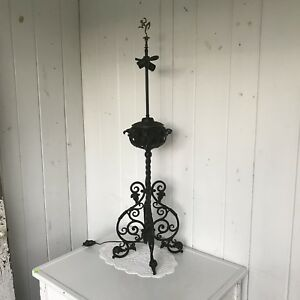 Antique Wrought Iron Parlor Piano Floor Electrified Oil Lamp W Brass Finial