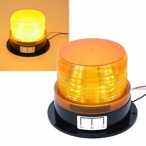 Led Car Bus Beacon Strobe Emergency Warning Alarm Flash Light Amber Dc12v 24v