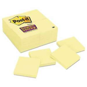 Post it Notes Super Sticky Canary Yellow Note Pads 3 X 3 90 sh 051141335292