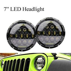 2pc Cree 7 Inch Round Led Projector Headlight Drl For Jeep Wrangler Jk Tj Lamp