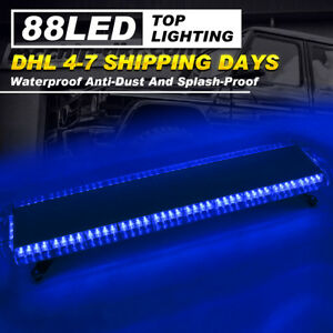 Car Strobe Lights 88 Led Flashing Bar Emergency Warning Hazard Dash Lamps Blue