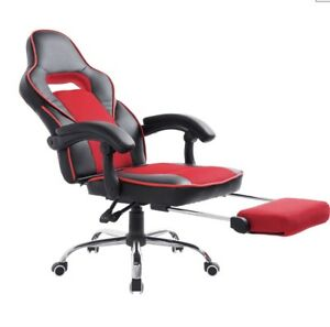 Homcom Race Car Style High Back Pu Leather Reclining Office Chair With Footrest