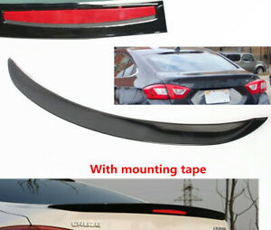 Fit Chevrolet Cruze Sedan 2017 2018 2019 Rear Trunk Spoiler Lip Shiny Black Trim