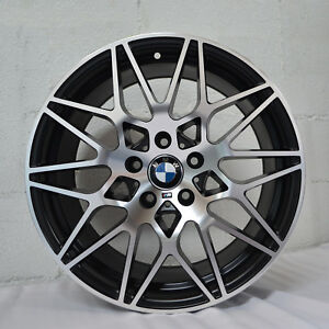 Set Of 4 Wheels 18 Inch Staggered Satin Black Rims Fits Bmw 135i 2008 2014