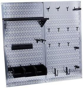 Pegboard Tool Organizer Galvanized Steel Garage Wall Storage Hook Bracket Shelf