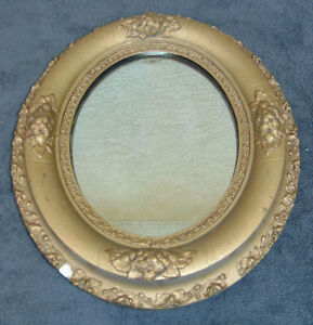 Antique Wall Mirror Old 13 X 15 Round Oval Heavy Frame Unusual Unique Vintage