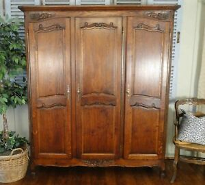 Antique French Country Wardrobe Armoire 3 Door Shelves Hanging Rod Tiger Oak