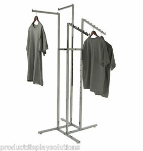4 Way Clothing Display Rack W 2 Waterfall 2 Straight Arms 1 Square Chrome
