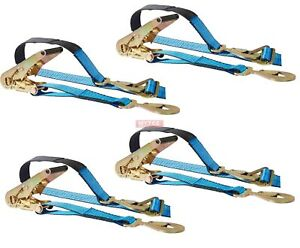 4 Axle Straps Race Car Trailer Car Hauler Ratchet Tie Down Strap W Snap Hooks