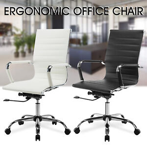 Adjustable High Back Swivel Office Chair Leather Ergonomic Computer Desk Seat