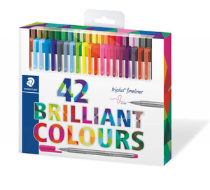 Staedtler Color Pen Set 334c42 Set Of 42 Assorted Colors Triplus Fineliner Pens