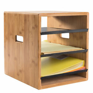 3 tier Bamboo Black Metal Office Document Organizer Trays