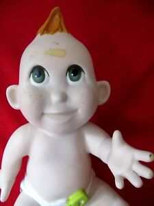 Full Body Polyurethane Sitting Baby Mannequin Red Hair Green Eyes as Is