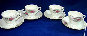 Set Of 4 Japanese Cups Saucers