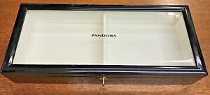 Pandora Glass Top Black Jewelry Display Box new Dealer Exclusive Storage Usa
