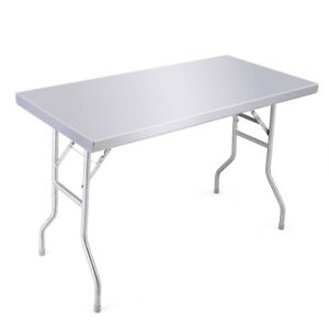Stainless Steel Outdoor Bbq Folding Work Table Picnic Dinner Kitchen Home